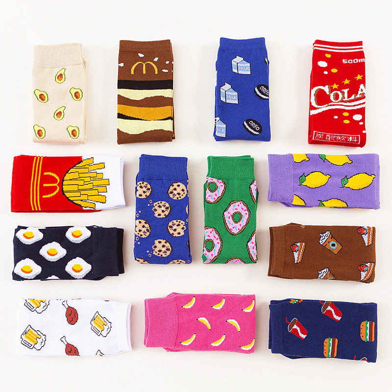Women Socks Funny Cute Cartoon Fruits Banana Avocado Lemon Egg Cookie Donuts Food Happy Japanese Harajuku Skateboard Socks