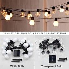 Ao ar livre guirlanda rua led g50 lâmpada energia solar luz da corda como decoração de natal lâmpada para casa iluminação do feriado interior