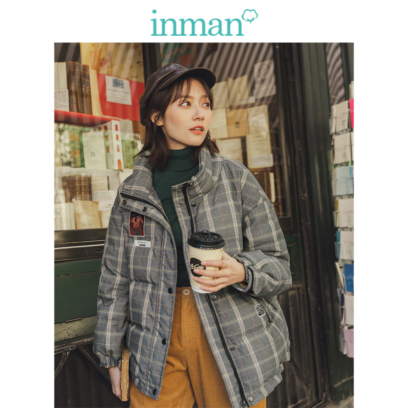 INMAN 2019 Winter New Arrival Literary Retro Stand Up Collar Embroidery Plaid Women Short Down Coat