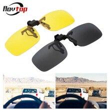 Klasik araba sürücü gözlük Anti UVA UVB polarize güneş gözlükleri sürüş gece görüş Lens güneş gözlüğü üzerinde klip iç aksesuarları