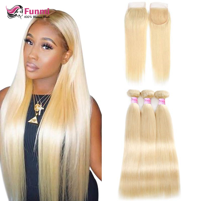 613 Honey Blonde Bundles With Closure Brazilian Body Wave 3 Bundles With Closure Blonde Human Hair Bundles With Closure Remy
