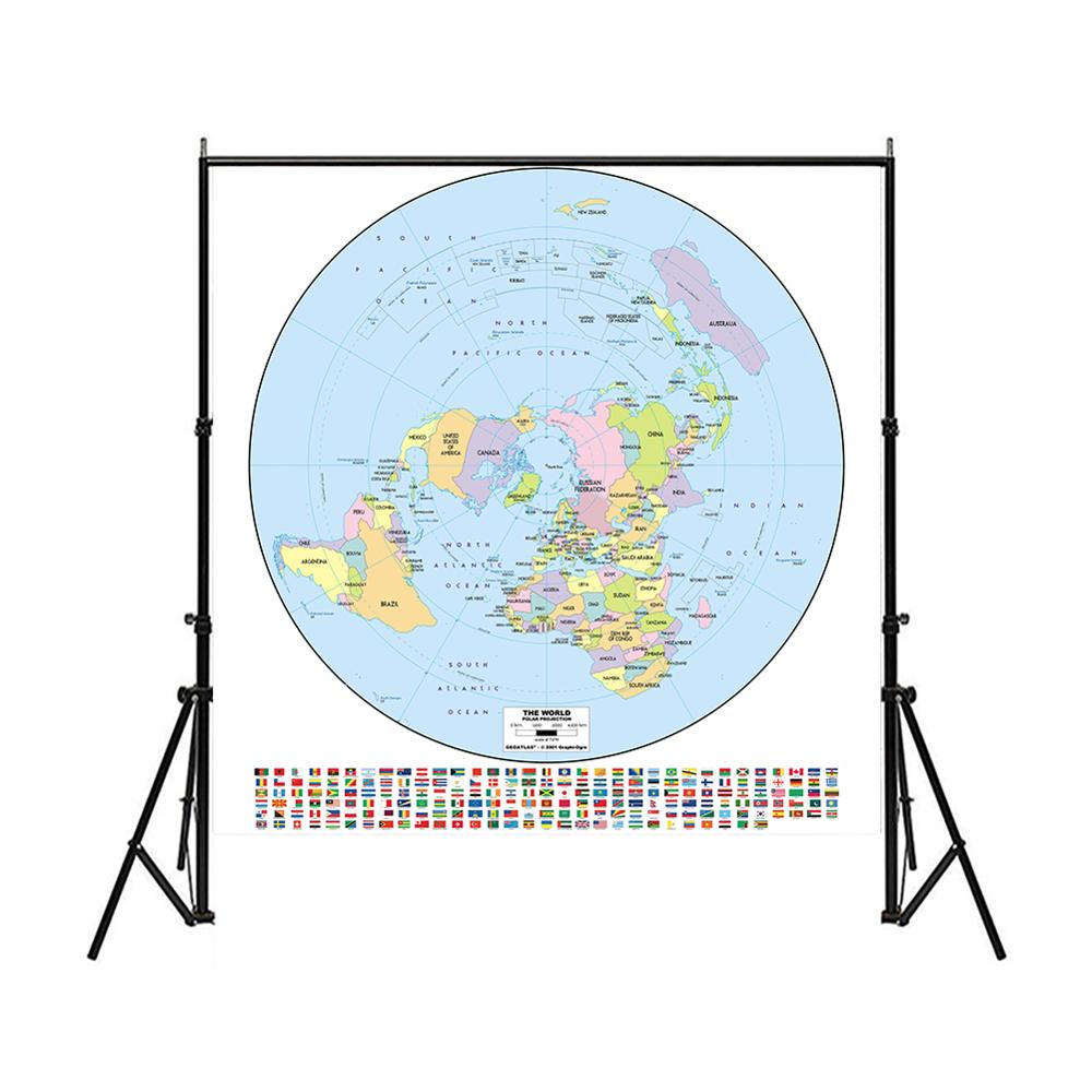 150x150cm Polar Projection World Map Non-woven Waterproof Spray World Map With National Flag