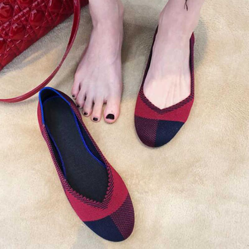 Yeni kadın rahat sığ ağız düz ayakkabı nefes yumuşak alt örgü bale ayakkabıları hamile ayakkabı kadın tek ayakkabı y951
