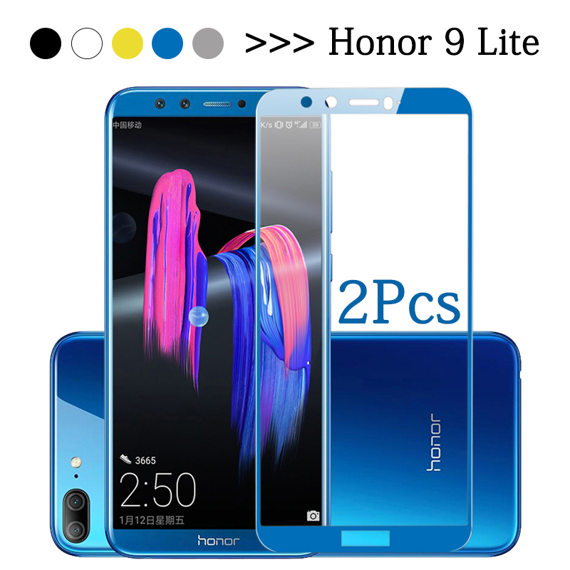 2Pcs/Lot 30D Protective glass Honor 9 Light Glass on For Huawei Honor 9 lite Full Cover Tempered Gla