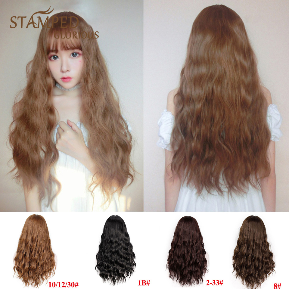 Stamped Glorious Natural Wave Wig With Bangs Long Hair Synthetic Blonde Wig For Women Heat Resistant Fiber Cosplay Wig