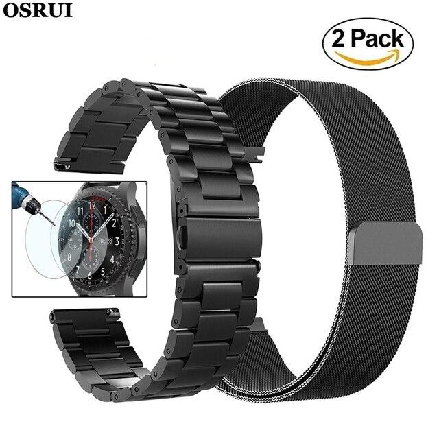 22mm uniwersalna pętla Milanese do Samsung Gear S3 Classic/S3 Frontier/galaxy watch 46mm regulowany pasek ze stali nierdzewnej
