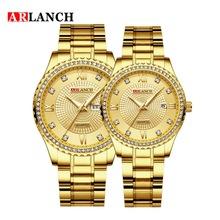 Arlanch Stainless Steel Digital Wristwatches Diamond Set Double Calendar Water Resistant Couple Watch Bracelet Clasp Auto Date
