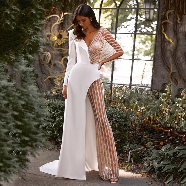 Sexy Jumpsuit Wedding Dresses 2021 Pants Suit Wedding Party Bridal Gown Illusion Tulle Long Sleeve V-Neck Sweep Train Open Back 1