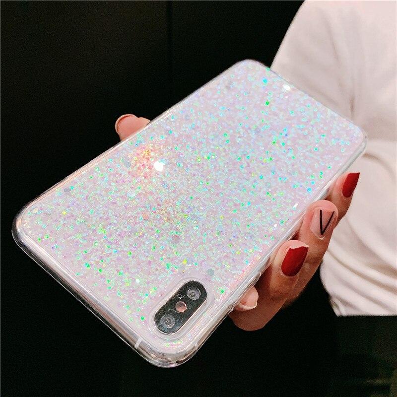 Glitter Sequins Soft Transparent Phone case For Xiaomi Redmi Note 8 Pro Note 7 8 8A 6A MI 8 MI CC9 E A3 Plating Coque Cover