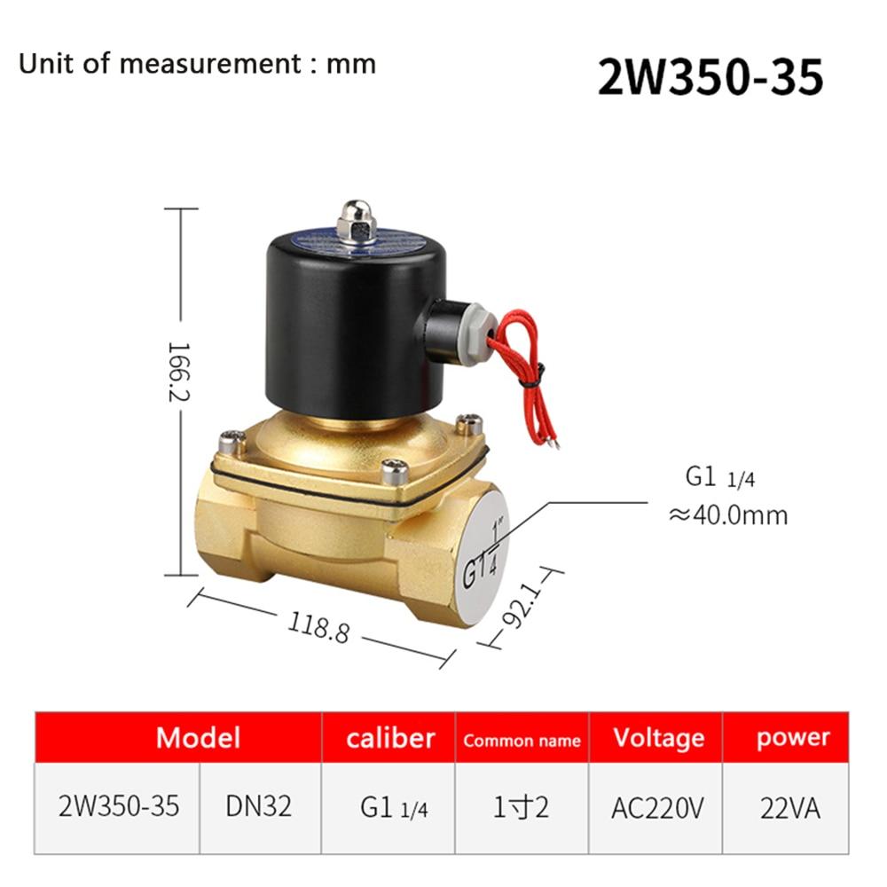 DN35 G1 1 4 quot Solenoid Valve 12V 24V 220V Copper Valve Body Copper Coil Oil Pneumatic Water Oil Helium Valve in Valve from Home Improvement