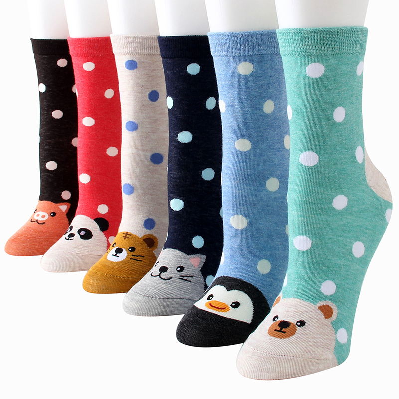 Cotton Socks For Women Harajuku Funny Socks Female Cute Cartoon Fashion Street Autumn Winter Print Sox 3 Pairs/lot #F