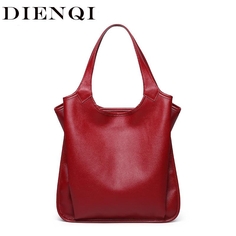 DIENQI cow genuine leather bag ladies winter women's leather handbags big female shoulder bag red hand bags for women 2019