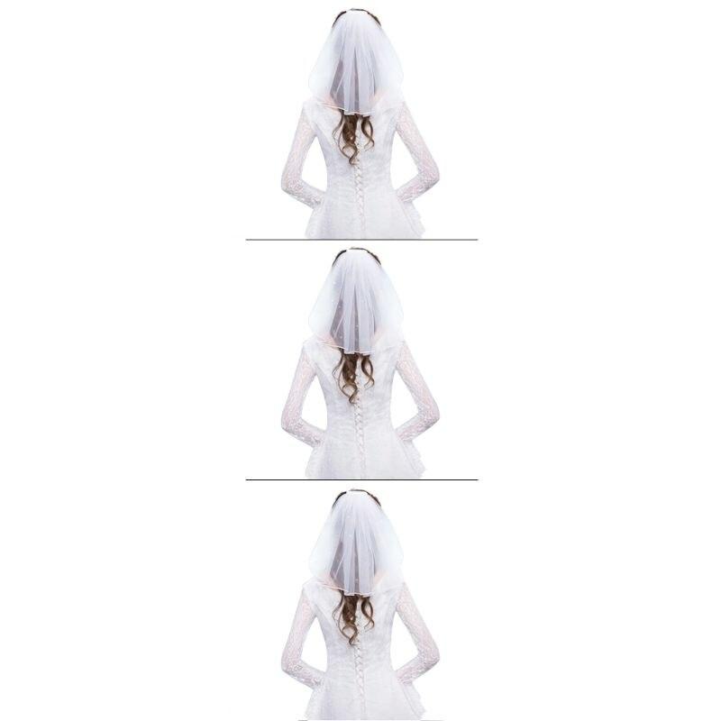 Tulle Wedding Dress Veils White Ribbon Edge Rhinestones Fake Pearls Short Bridal Hair Veil Comb Bride Fairy Marriage Accessories