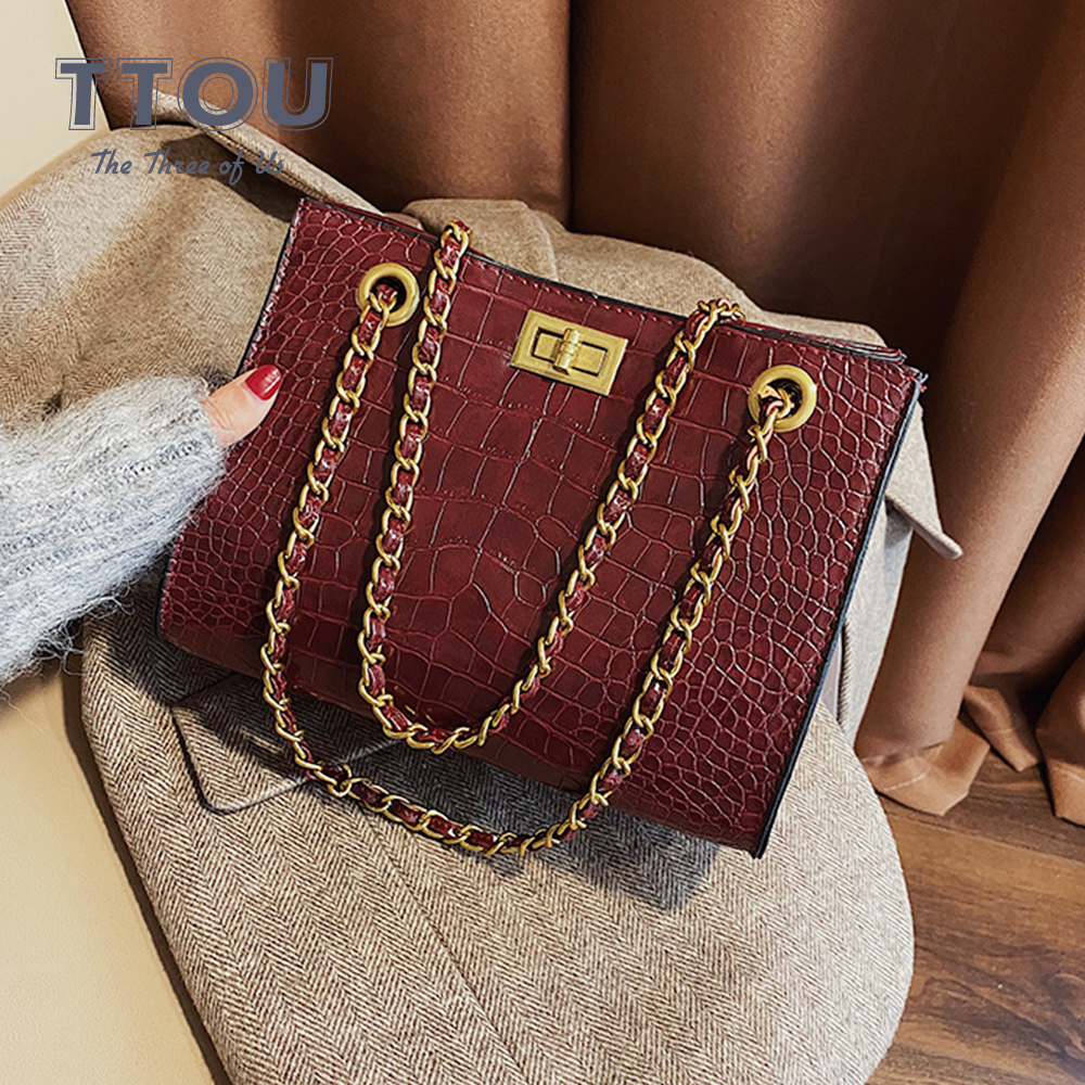Luxury Brand Crocodile Pattern Large Capacity Women Hand Bags Quality PU Leather Crossbody Bags Female Tote Bags Sac A Main Bag