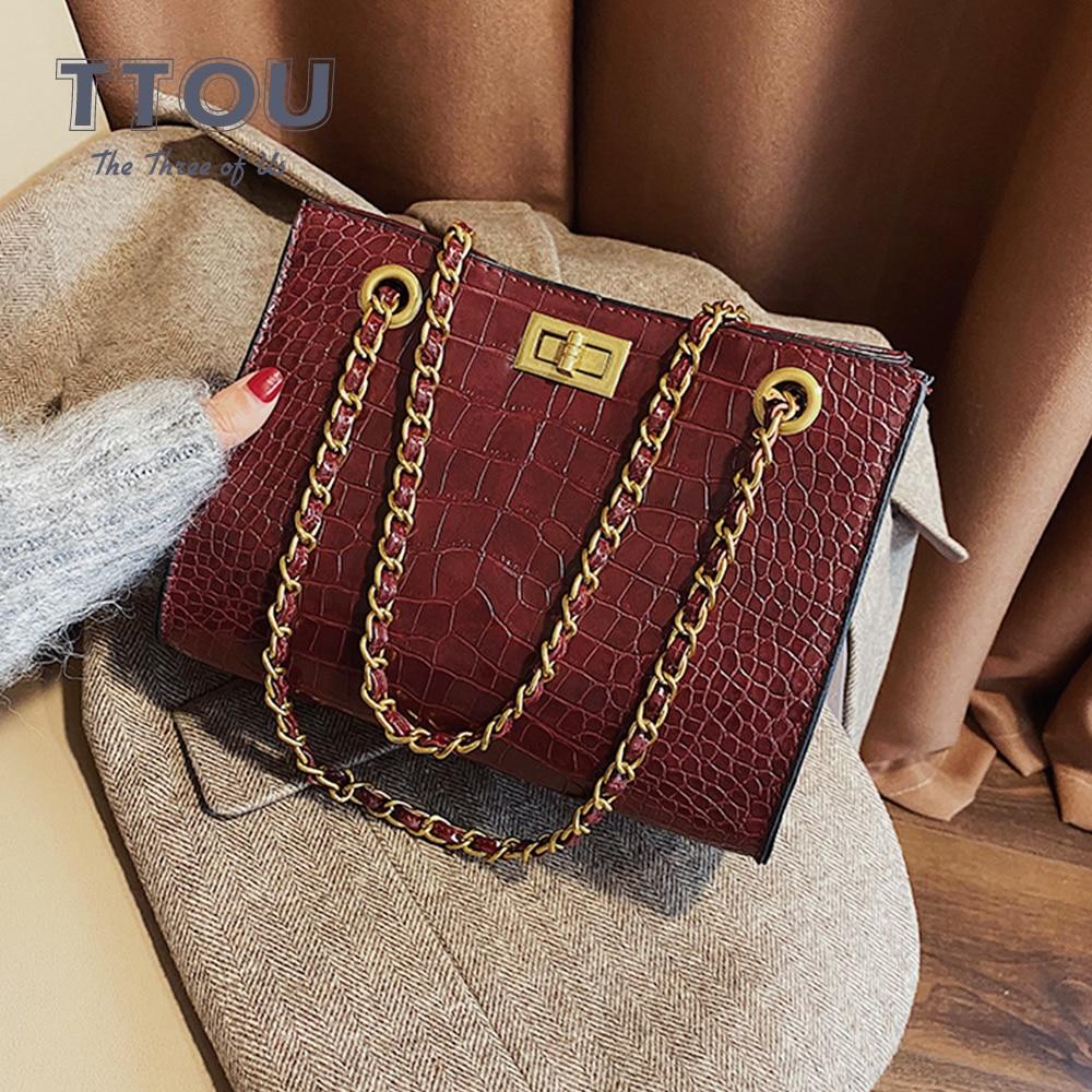 Luxury Brand Crocodile Pattern Large Capacity Women Hand Bags Quality PU Leather Crossbody Bags Female Tote Bags Sac A Main Bag