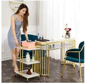 European light luxury marble beauty salon manicure table and chair set single double net red simple back chair sofa