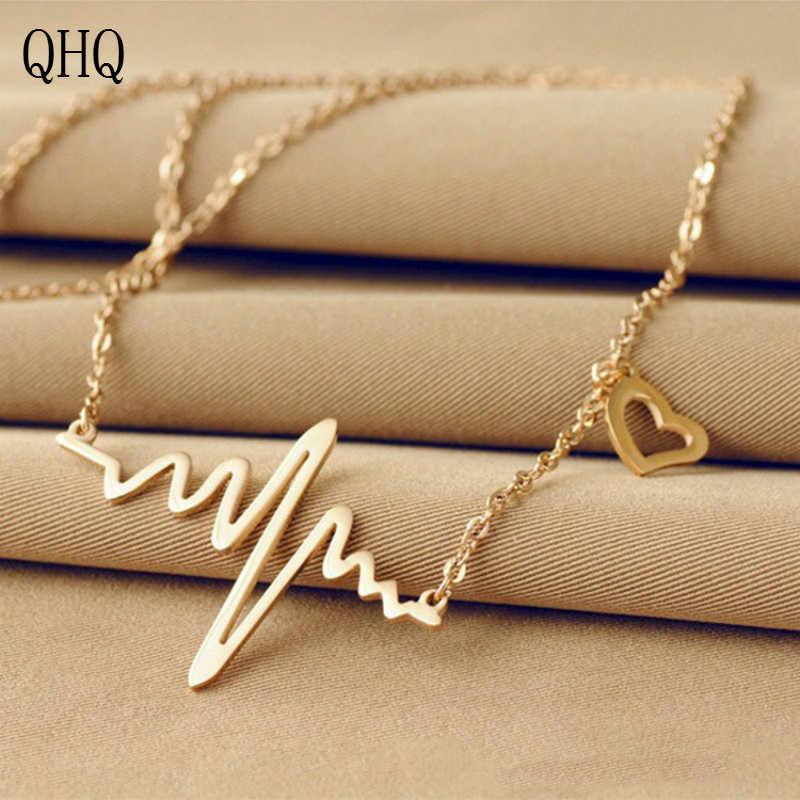 QHQ จี้สร้อยคอ choker หัวใจสร้อยคอเพื่อนที่ดีที่สุด titanium เหล็กแฟชั่นหญิงอุปกรณ์เสริมเครื่องประดับของขวัญผู้หญิง