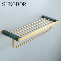 Nordic light luxury brass marble brushed gold towel rack bathroom shelf gold towel rack bathroom pendant
