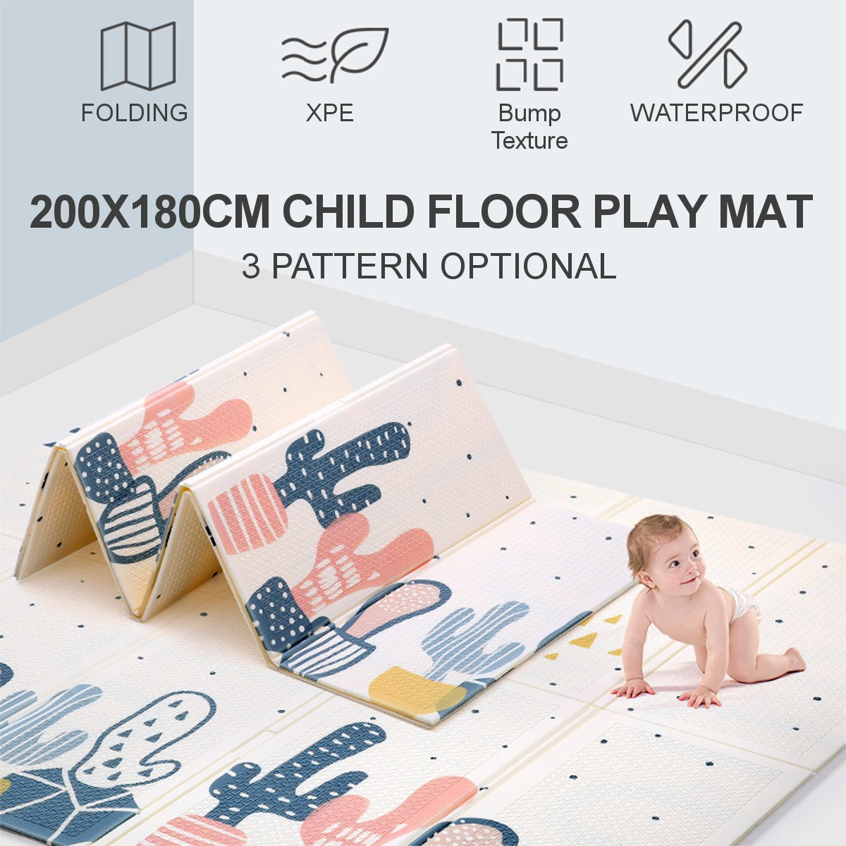 200x180cm Baby Crawling Play Mat Thick Cover Rug Waterproof Infant Baby Room Crawling Pad Folding Games Mat Non-Slip Baby Carpet