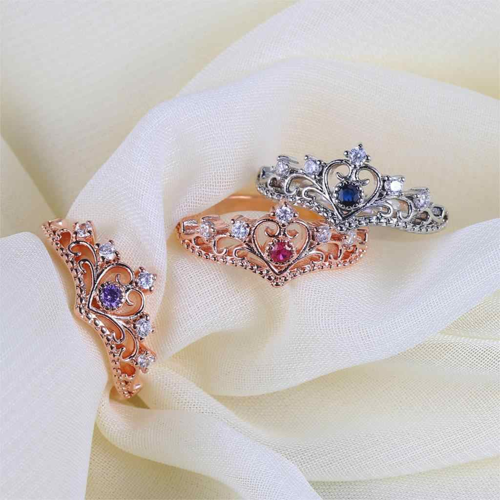 Princess Crownแหวนสไตล์สำหรับสุภาพสตรีHollow Out Rose & White Goldสีแฟชั่นของขวัญเครื่องประดับสำหรับสาวKBR212-M