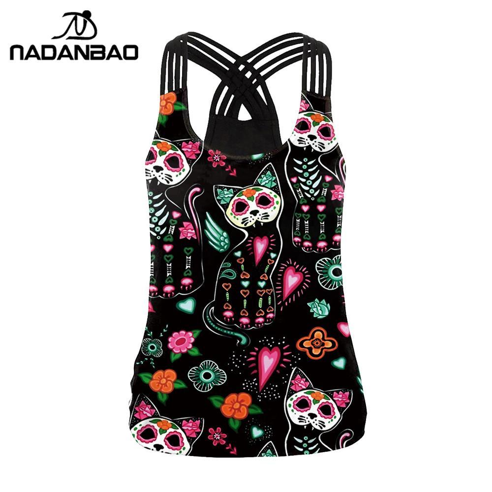 Женский топ на бретельках NADANBAO, черный эластичный Топ без рукавов с принтом «сахарный череп» и «День мертвых кошек»