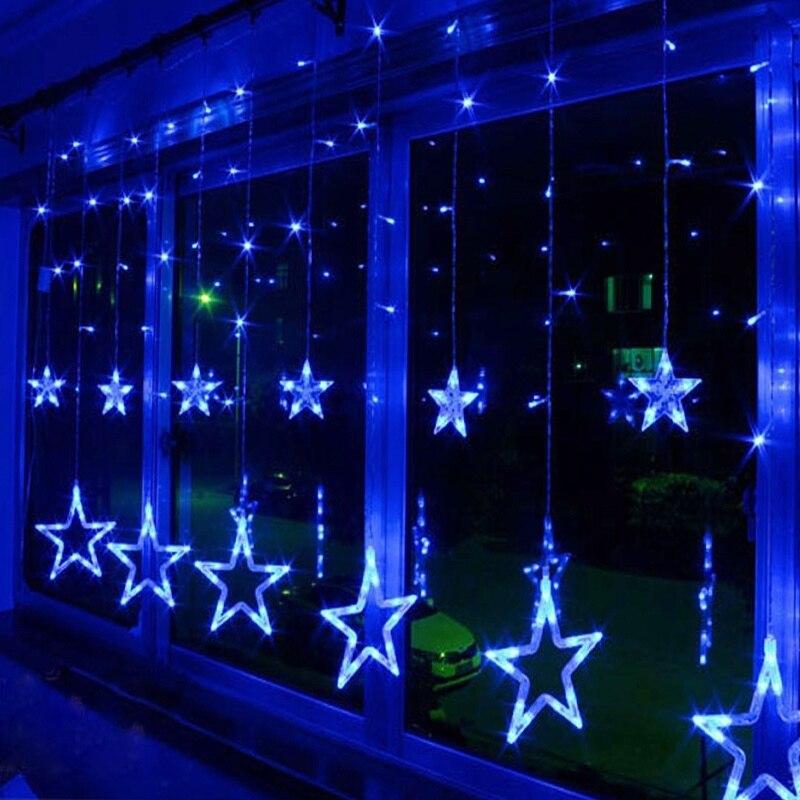 Işıklar ve Aydınlatma'ten Aydınlatma İpleri'de LED perde ışık lamba dize 8 modu bahçe noel ışıkları dekorasyon ay yıldız 2.5M abd 110V düğün Neon fener festivali title=