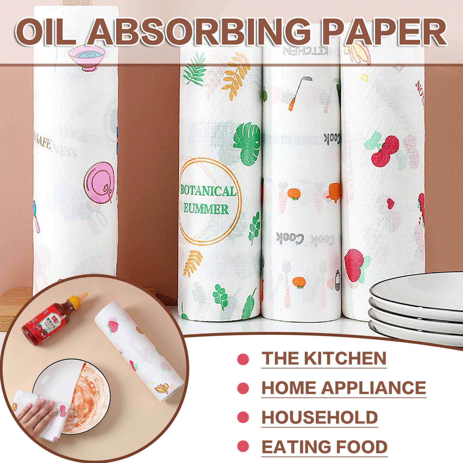 50pcs/roll Lazy Rag Disposable Cleaning Cloth Non-woven Dish Cloth Absorbent Paper Towel Kitchen Cleaning Supplies Rags