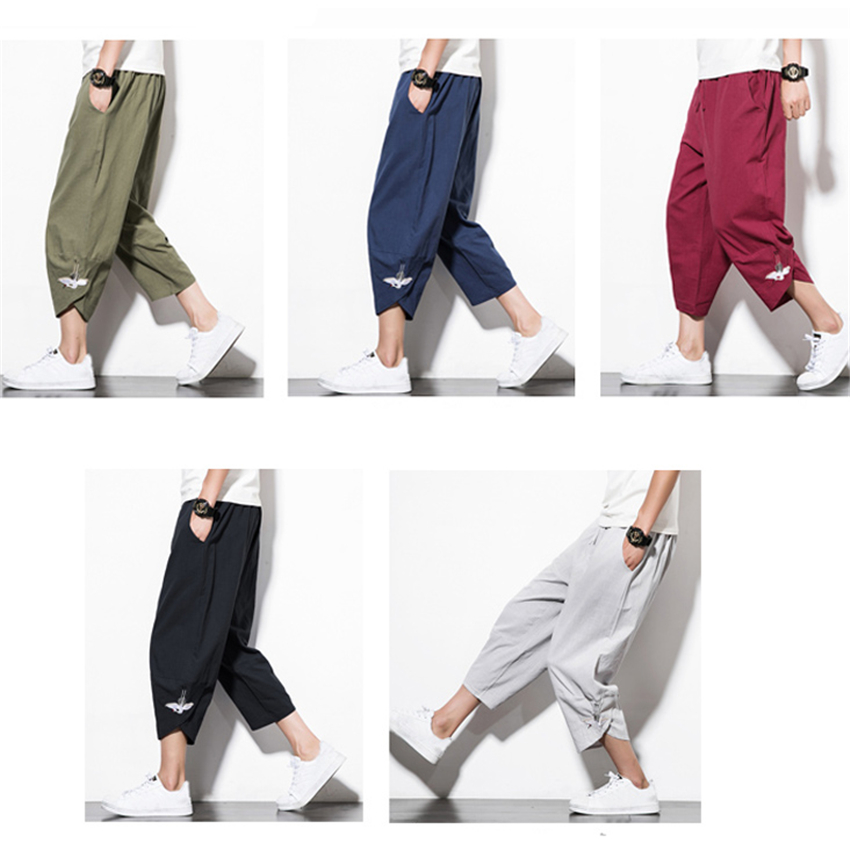 Japanese Style Harajuku Plus Size Men Trousers Crane Samurai Costume Loose Japan Fashion Capris Women Bloom Pants Haori Asian