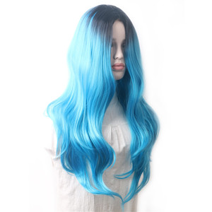 Image 4 - WoodFestival Ombre Synthetic Wig Heat Resistant Multicolored Red Black Blue Pink Brown Mint Green Long Wavy Hair Wigs for Women