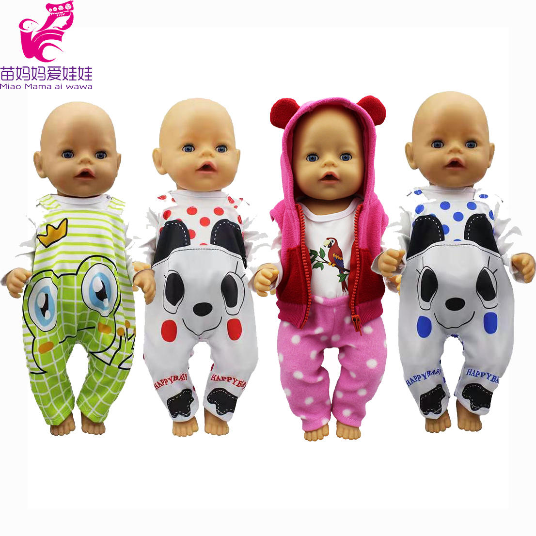 Doll Clothes For 43cm Baby New Born Doll Animal Clothes Dress Doll Head Flower Band For 18 Inch Doll Clothes Set