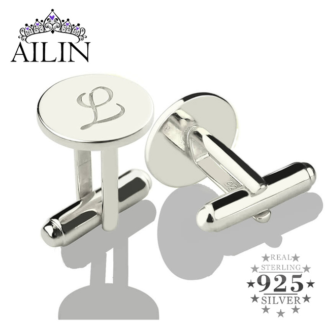 AILIN Personalized Sterling Silver Initial Letter Cufflinks Wedding Groomsmen Cufflinks Gift for Man