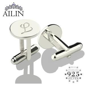 Image 1 - Персонализированные Запонки AILIN из стерлингового серебра, запонки с надписью, запонки для свадьбы, подарок для мужчин