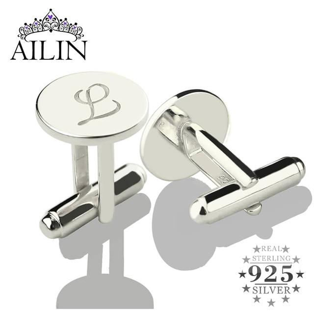 Персонализированные Запонки AILIN из стерлингового серебра, запонки с надписью, запонки для свадьбы, подарок для мужчин