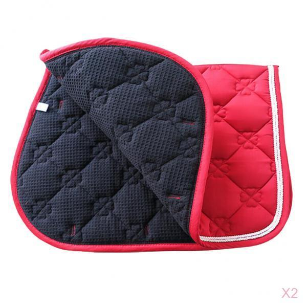 2 Pack Quilted Cotton English Saddle Pad Western Saddle Pads Mat For Horse Riding, Equestrian Equipment Supplies