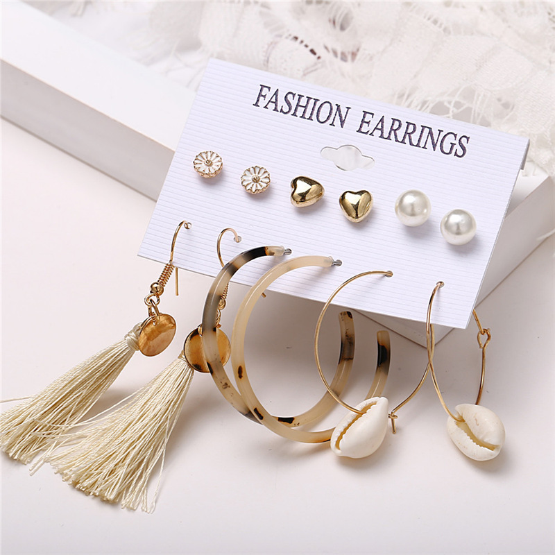 Hdc8527a729b044f3bbf369976acab71aU - IF ME Fashion Vintage Gold Pearl Round Circle Drop Earrings Set For Women Girl Large Acrylic Tortoise shell Dangle Ear Jewelry