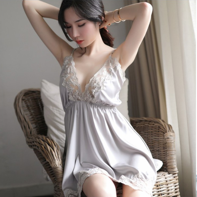 2020 High Quality Hot Sexy Lingerie Nightgown Underwear Lace Embroidery Seduction Women Nightwear Sling Back Cross Night Dress 7