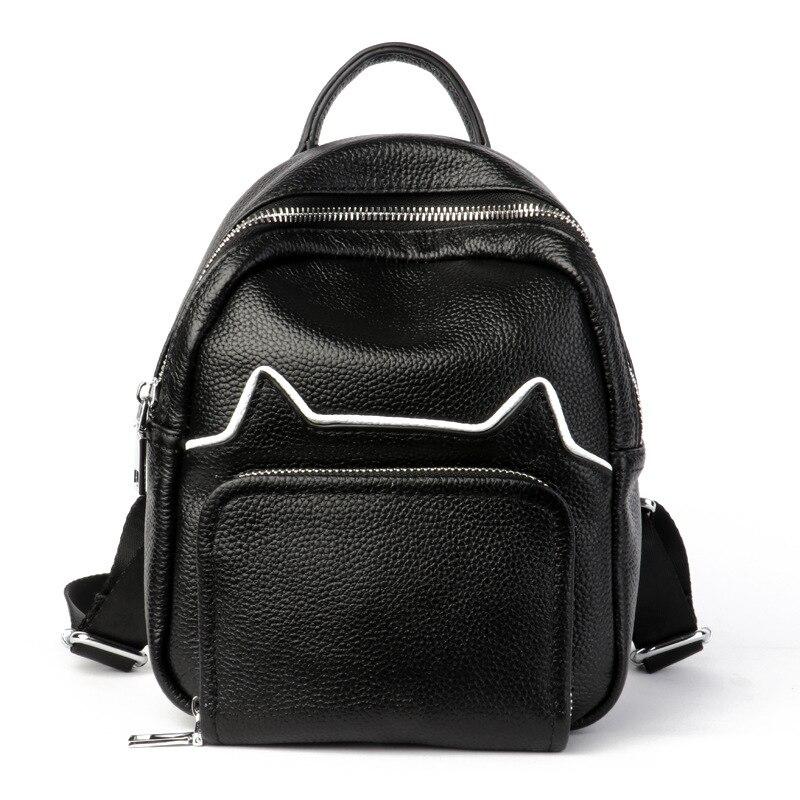 Mini sac à dos femme sacs à dos en cuir véritable mignon chat épaule sacs d'école pour filles petits sacs à dos de haute qualité