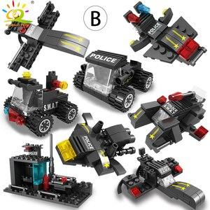Image 5 - HUIQIBAO SWAT polis İstasyonu kamyon modeli yapı taşları şehir makinesi helikopter araba rakamlar tuğla eğitici oyuncak çocuklar için