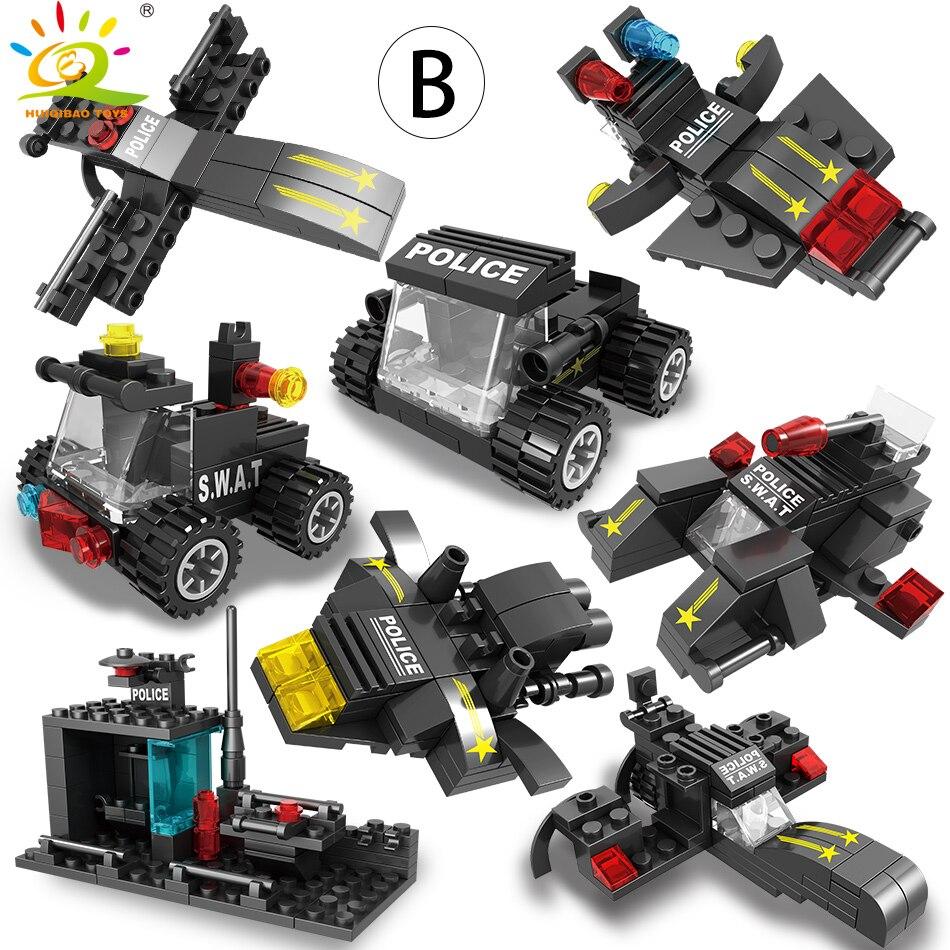 Image 5 - HUIQIBAO SWAT полицейская станция модель грузовика строительные блоки городская машина вертолет автомобиль фигурки кирпичи обучающая игрушка для детейБлочные конструкторы   -