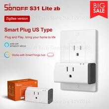 Sonoff Itead S31 Litezb ZigBee, enchufe Zigbee de 15A, cuerpo pequeño, funciona con Smart things Hub, Control por voz a través de Alexa