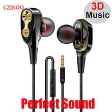In-Ear Stereo Bass Dual Driver Earphone Headphone 3.5 Mm Jack Kabel Kontrol HIFI Earbud untuk Panasonic P85 P88 Samsung Headset(China)