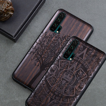 יוקרה כבוד 20 פרו מקרה שחור אבוני עץ כיסוי עבור Huawei Honor 20 מגולף עץ TPU פגוש מקרה עבור Huawei כבוד 20 פרו