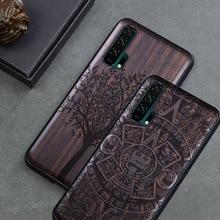 Luxe Honor 20 Pro Case Zwart Ebbenhout Cover Voor Huawei Honor 20 Gesneden Houten Tpu Bumper Case Voor Huawei honor 20 Pro