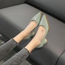 EOEODOIT – escarpins en cuir à bout pointu et à talon carré de 5 CM pour femmes, chaussures de travail élégantes à mi-talon, collection printemps-automne