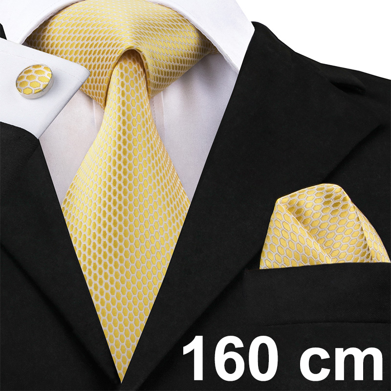 Hi-Tie 160cm Men Tie Silk Necktie Large Ties For Men Black Brown Blue Neckties Handkerchief Cufflinks Set Long Men's Ties