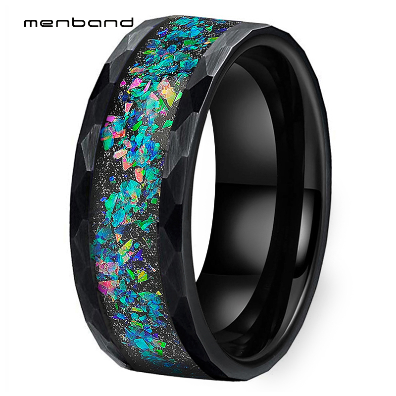 Black Opal Ring Men Women Tungsten Wedding Band Face Ring With Galaxy Series Opal Inlay 8MM