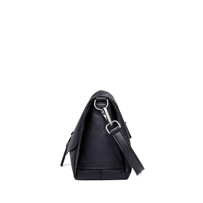 ZOOLER señoras bandolera bolso de lujo bolsos de hombro de las mujeres de diseñador de cuero genuino Negro Bolso de mensajero mujeres chicas # LD200-in Cubos from Maletas y bolsas    3