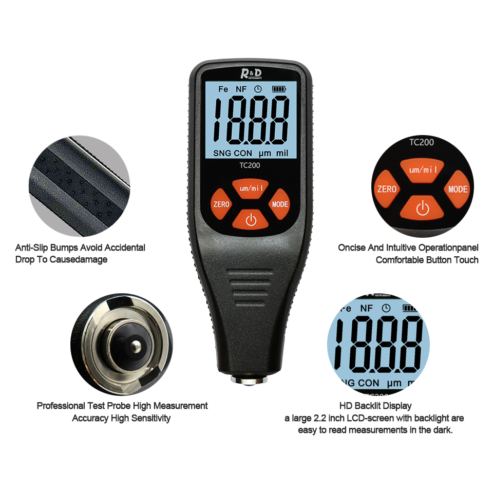 Tools : R amp D TC200 Coating Thickness Gauge 0 1 micron 0-1500 Car Paint Film Thickness Tester Measuring FE NFE Russian Manual Paint Tool
