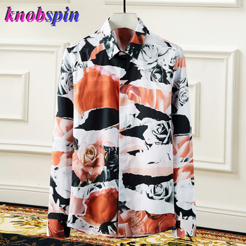 Fashion Flower Print Shirt men Long sleeve Slim Casual Chemise homme Brand quality Business male Cotton Shirts Plus size M-4XL