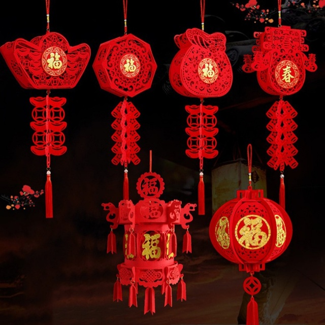 2020 Waterproof Good Fortune Red Paper Lanterns for Chinese New Year Spring Festival Party Celebration Home Decor 1